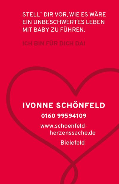 Visitenkarte Ivonne Schönfeld - Herzenssache - Unterstützung für ein unbeschwertes Leben mit Baby